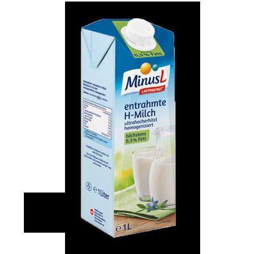 MinusL entrahmte H-Milch 0,3% Laktosefrei 1L